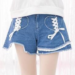 Moriville - Lace Up Detailed Fray Hem Denim Shorts