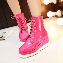Tomma - Platform Lace Up Short Boots