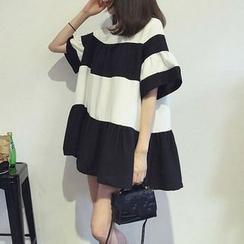 氣質淑女 - 喇叭袖條紋裙衣