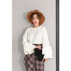 PPGIRL - Round-Neck Cable-Knit Top