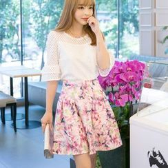 Emeline - Set: Elbow-Sleeve Mesh Panel Top + Floral Skirt