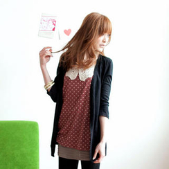 Tokyo Fashion - Inset Crochet-Collar Dotted Top Cardigan