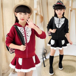 Pegasus - Kids Set : Lace Panel Hooded Jacket + Skirt