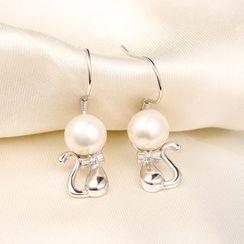 Zundiao - Sterling Silver Bead Cat Earrings
