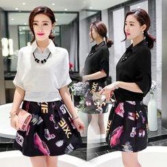 Enjoi - Set: Perforated 3/4 Sleeve Top + Print A-Line Skirt