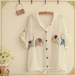 Fairyland - Elephant Appliqué Hooded Blouse