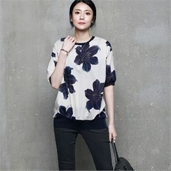 HALUMAYBE - Short-Sleeve Floral Pattern Top