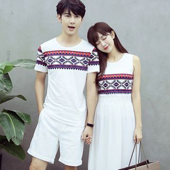 TOOI - Couple Matching Printed Short Sleeve T-Shirt / Sleeveless Midi Dress