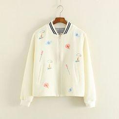 Mushi - Flower Embroidered Zip Jacket