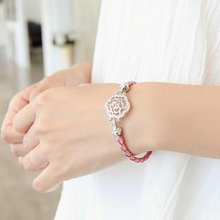 soo n soo - Faux Leather Flower-Pendant Bracelet