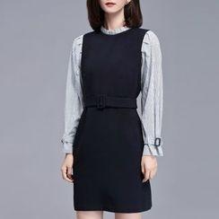 Sentubila - Ruffle Trim Striped Mock Two-Piece Dress
