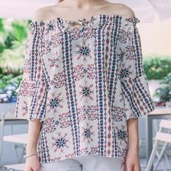 Phyllis - Elbow-Sleeve Off Shoulder Patterned Top