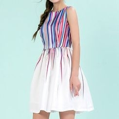 Strawberry Flower - Pinstriped Sleeveless Dress