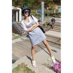 PPGIRL - Striped Suspender Skirt