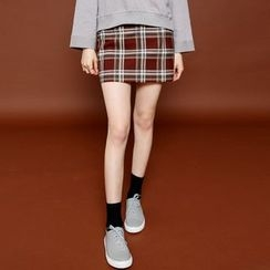 Envy Look - Band-Waist Check Mini Skirt
