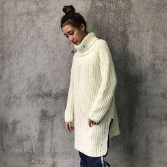 Anlay - Loose-Fit Long Turtleneck Plain Knit Top