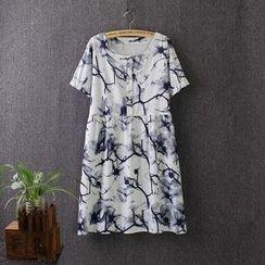 Blue Rose - Printed Short-Sleeve Dress