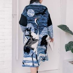 Isadora - Printed Open Front Thick Long Cardigan