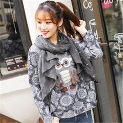 11.STREET - Brushed Lace Owl Printed Sweater