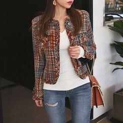 DABAGIRL - Collarless Button-Down Fringed Tweed Jacket
