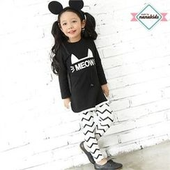 nanakids - Girls Set: Printed T-Shirt + Zigzag Leggings