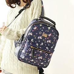 Canvas Love - Print Faux Leather Backpack