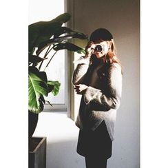 CHERRYKOKO - Asymmetric-Hem Wool Blend Furry-Knit Top