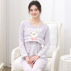 Kream - 家居服套裝:哺乳上衣 + 褲