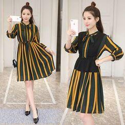 伊之戀 - 套裝: 條紋長袖雪紡連衣裙 + 純色馬甲