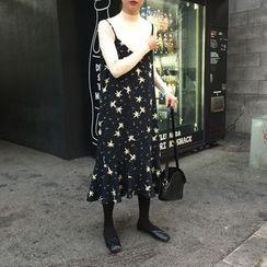 Sinbounboun - Ruffle Hem Printed Chiffon Dress
