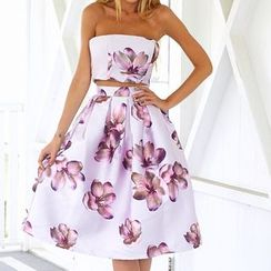 Flobo - Strapless Printed Dress
