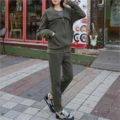 CHICFOX - Set: Diagonal-Zip Hoodie + Sweatpants