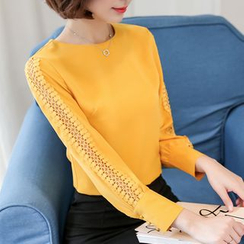 Sienne - Perforated Long Sleeve Blouse