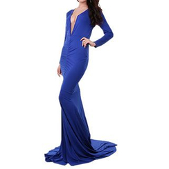 Noctiluca - Long Sleeve Deep V Open Back Evening Gown