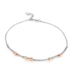 MaBelle - 14K Tri-Color White Yellow Rose Gold Station Beads Anklet  (23cm)