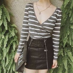 Octavia - Wrap Front Striped Long Sleeve T-Shirt