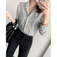 UPTOWNHOLIC - Notched-Lapel Striped Shirt
