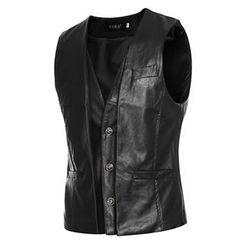 Fireon - Faux Leather Button Vest