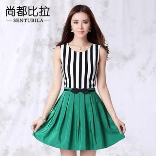Sentubila - Stripe Top Skater Dress