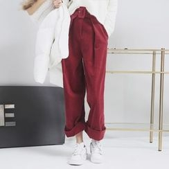 Sonne - Corduroy Wide-Leg Pants with Belt