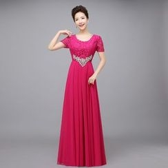 Milenio - Lace Short Sleeve A-Line Evening Gown