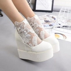 Anran - Lace Panel Platform Shoes