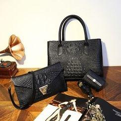 Beloved Bags - 三件套: 仿鳄鱼纹皮革手提袋 + 肩包 + 卡套