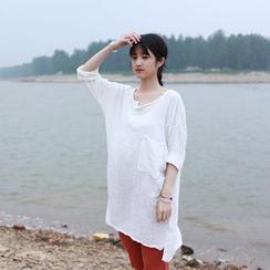 兰芝 - 纯色长袖裙衣