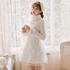 Candy Rain - Long-Sleeve Lace Trim Woolen A-line Dress
