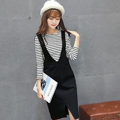 Romantica - Set: Striped T-Shirt + Suspender Skirt