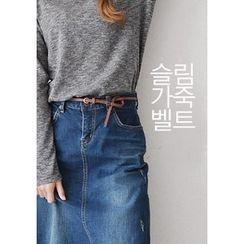 GOROKE - Genuine-Leather Colored Slim Belt
