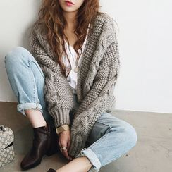 NANING9 - Cable-Knit Open-Front Cardigan