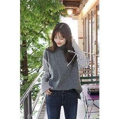 CHERRYKOKO - Mock-Neck Stripe-Sleeve Wool Blend Top
