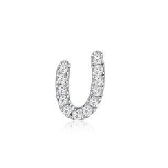 MBLife.com - Left Right Accessory - 9K White Gold Initial 'U' Pave Diamond Single Stud Earring (0.03cttw)